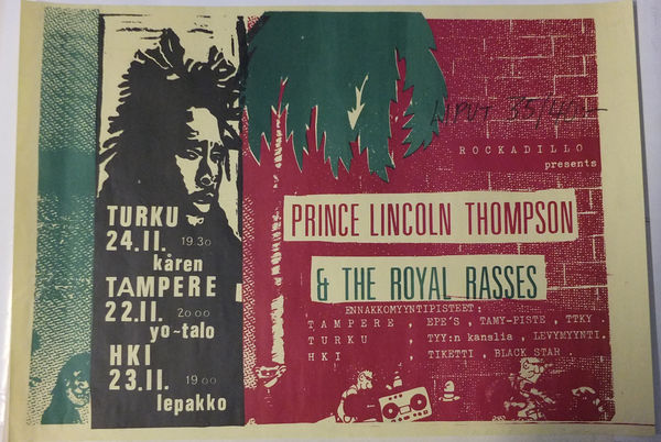 Prince Lincoln Thompson Unique finnish gigposter 1982